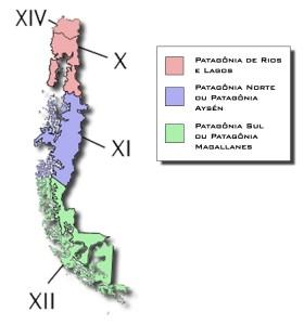 Divisões da Patagônia Chilena (Ilustração: Thiago Gambôa - ViaBr Turismo)