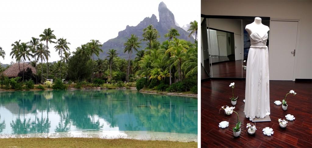 Hotel St. Regis em Bora Bora, com sua loja de aluguel de vestidos e lugar especial para realização de casamentos