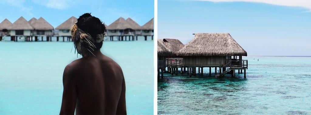 Recepcionadas pelo tahitiano no Intercontinetal Thalasso e Bangalôs sobre as águas em Bora Bora